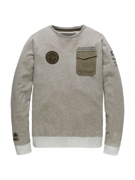 PME Legend Long sleeve r-neck light terry grey melee grijs PTS186532-960 large