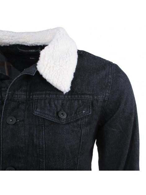 Wonderbaar Indicode Heren spijkerjas teddy gevoerde kraag jean zwart LO-18