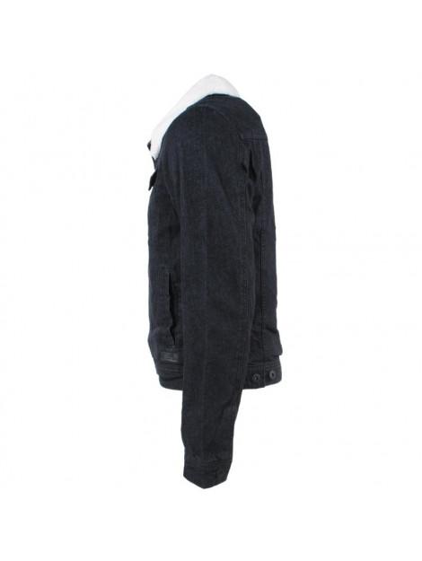 Verbazingwekkend Indicode Heren spijkerjas teddy gevoerde kraag jean zwart EE-13