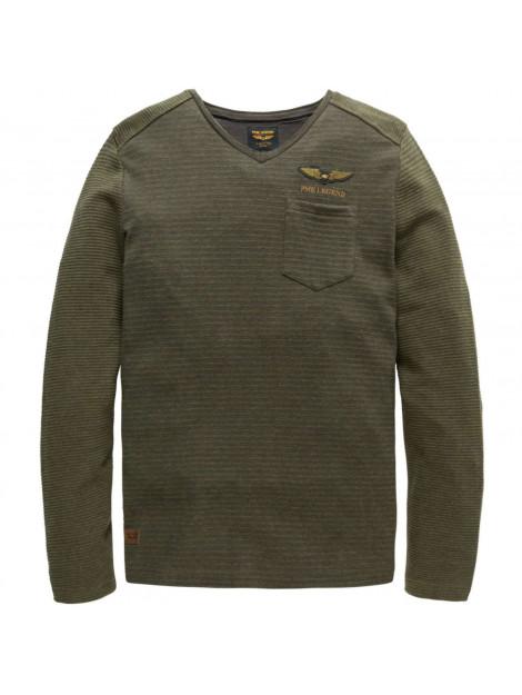 PME Legend V-neck jacquard jersey betts beluga groen PTS185517-8039 large