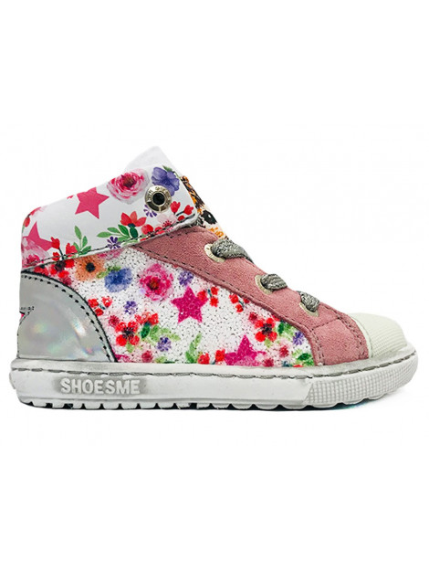 Shoesme Wiite veterschoenen bloemen extreme flex wit EF9S028-C large