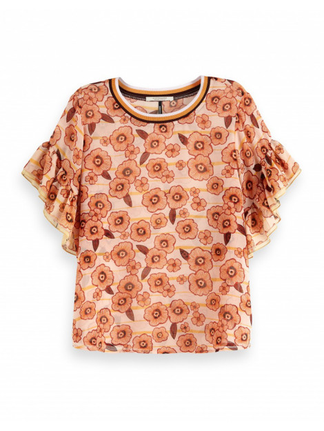 Maison Scotch Mixed printed top wit 149806-white large