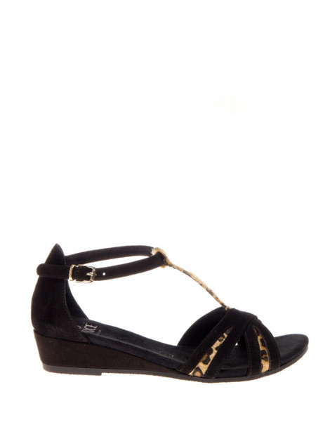 Caprice Sandaal small wedge black suede leopard 9-28206-24-096 large
