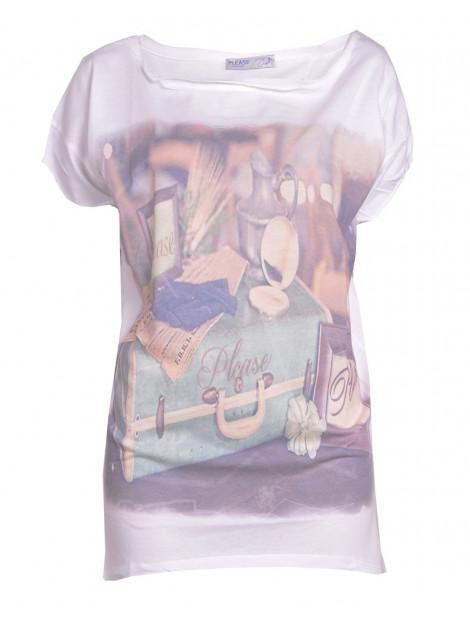 Please T-shirt travel diairies white M4489V537-001 large