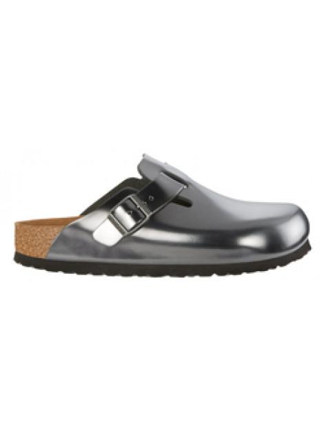 Birkenstock Boston metallic antracite leather soft footbed small 1000683 large