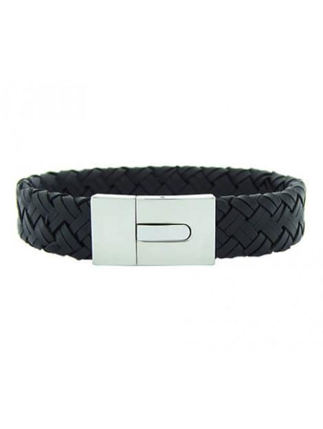 Christian Leather black bracelet white clasp 2383287JC large