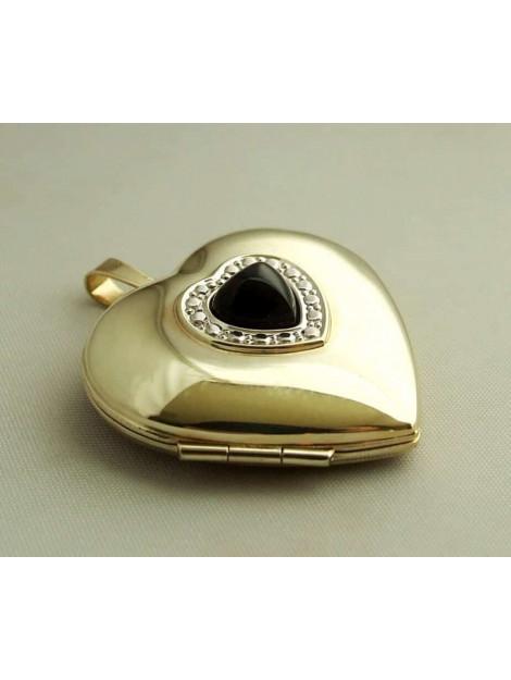 Christian Gouden harten medaillon met diamanten en onyx 432D8-8424JC large