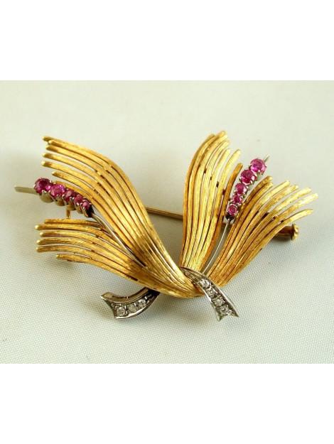 Christian Gouden broche met diamanten en robijnen 554D1-9306JC large
