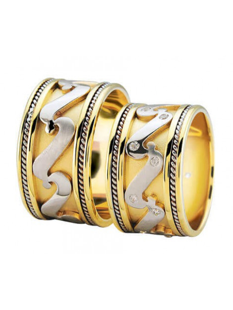 Christian Bicolor diamanten trouwringen fantasie model 982Y37-3925L large