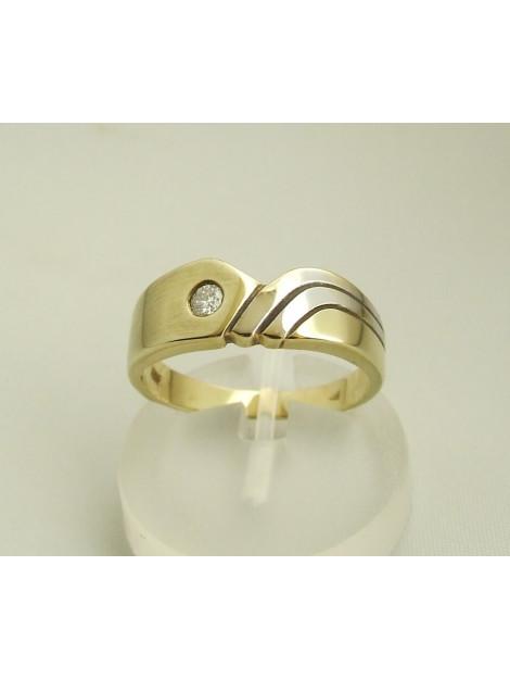 Atelier Christian Bicolor gouden ring met briljant 0.10 ct. 38292JC large