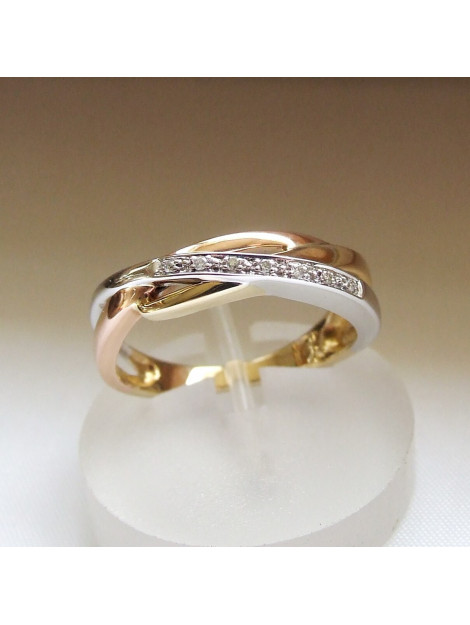 Christian Gouden tricolor ring met diamanten rosé goud 094C2-3234JC large