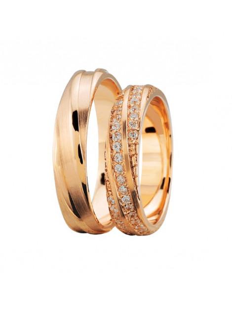 Christian Rosé gouden trouwringen met 3 rijen diamanten 3895L large