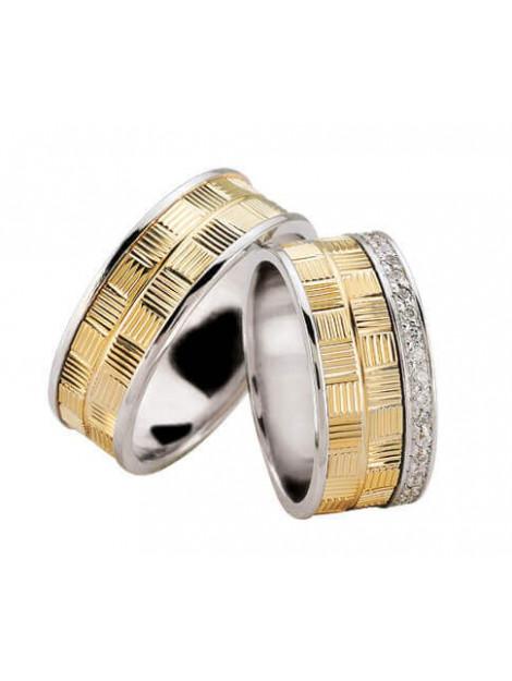 Christian Bicolor diamanten trouwringen geribbeld 0293O8-3972JC large