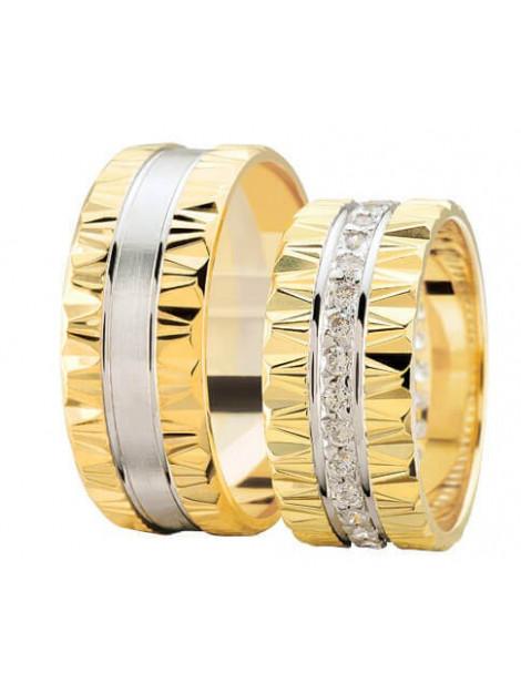 Christian Geribbelde trouwringen rondom diamanten geel goud 9U238-4046L large
