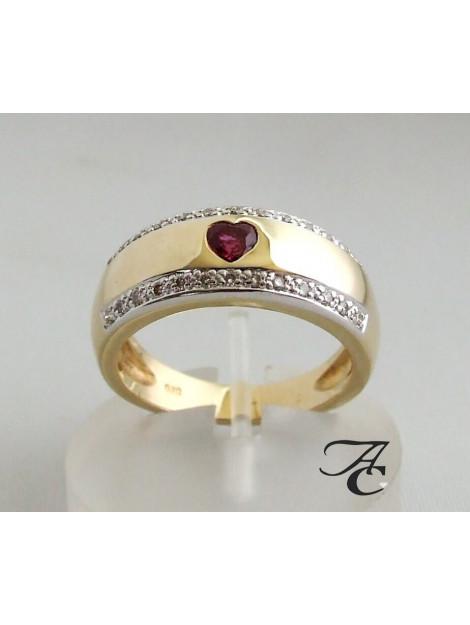 Atelier Christian Gouden ring met diamanten en robijnen hart geel goud 237V8-6917AC large