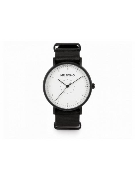 Mr.BOHO Horloge 40mm black & white casual metallic 21-67-bw large