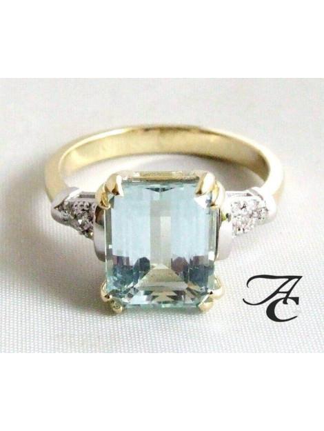 Atelier Christian Bicolor ring met aquamarijn en diamanten geel goud 64D22R-9895AC large