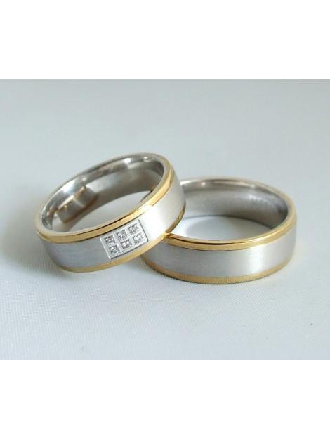 Christian Bicolor trouwringen met diamanten geel goud 2E3893-5070JC large