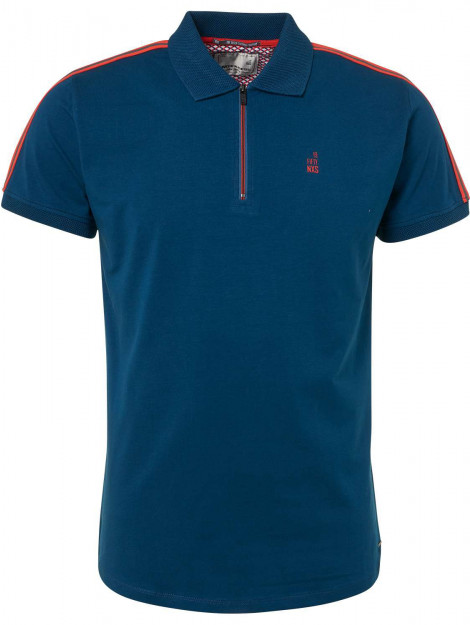 No Excess Polo, s/sl, half zip, stretch, tape shadow blue blauw 91370510-132 large