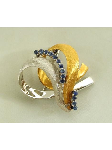 Christian 18 karaat bicolor gouden broche met saffier 2N37F93-9218OCC large