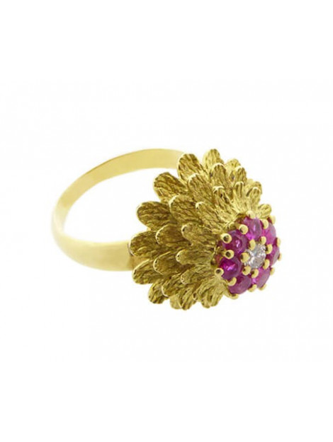 Christian 18 karaat gouden ring met robijnen en diamant 893R98U-9324OCC large