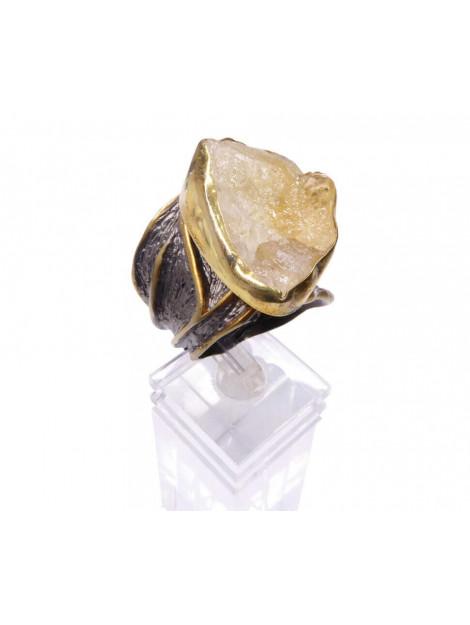 Christian Zilveren ring met ruwe kwarts geel goud 879G9-0817JC large