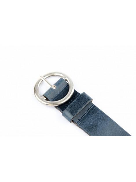 Legend Elegante leren damesriem met ronde gesp blauw 40-712/408 large