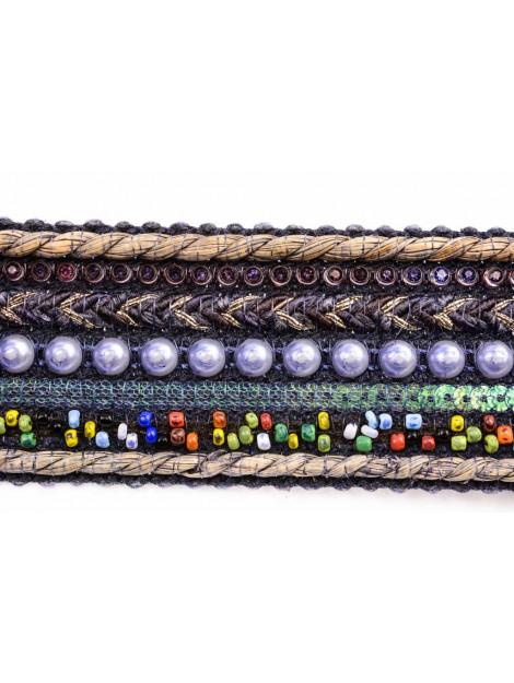 Leyva Blauwe damesriem met kralen 80540-11 BL large