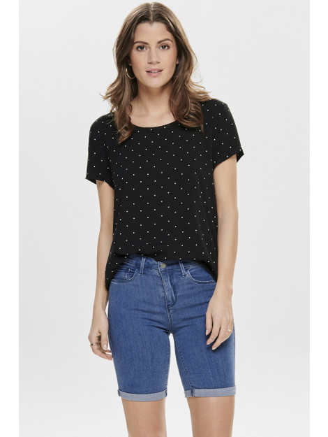 Only Onlfirst ss mix aop top noos wvn 15138761 black/mini dots zwart 5713779226124 large