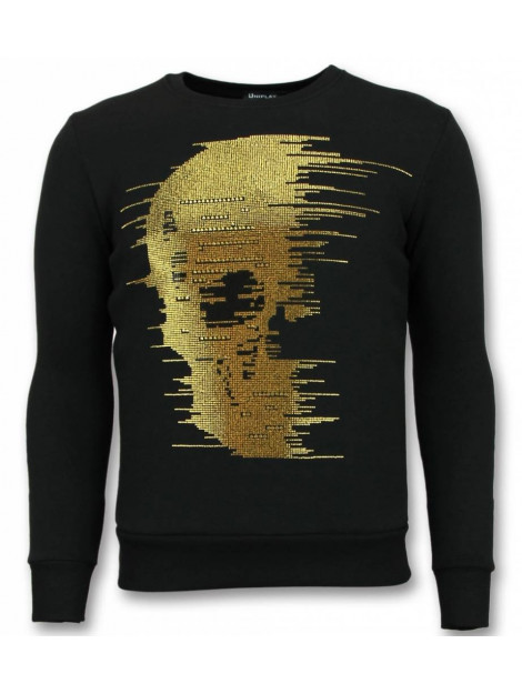 Tony Backer Rhinestone trui gold skull sweater UP-ZS006 large