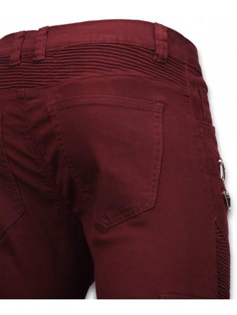 True Rise Ripped jeans slim fit biker jeans side pocket & zippers U068-2B large