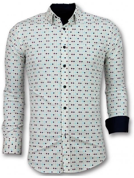 Tony Backer Overhemden slim fit tetris motief hemd 3023 large