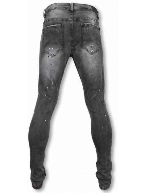 True Rise Casual jeans slim fit plain jeans with paint drops U139-5 large