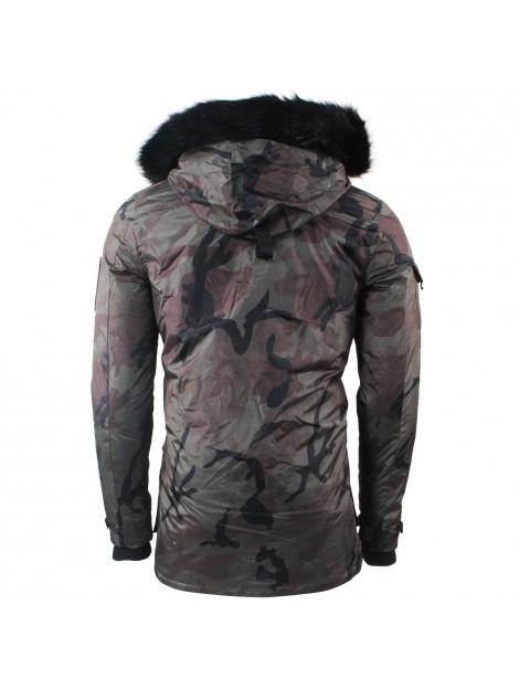 Hite Couture Heren winterjas met bontkraag en Teddy gevoerde Capuchon Model Nejdril Camou Army