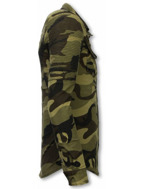 True Rise Biker denim shirt slim fit ribbel camouflage DC-2294G large