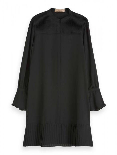 Maison Scotch Dress with pleat details black zwart 152579-08 large