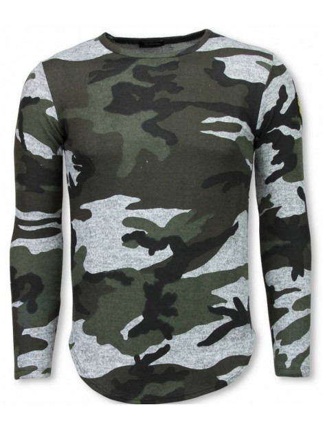 Justing Leger print borduur shirt long sleeve t-shirt L7274G large