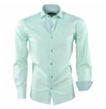 Pradz 2018 Heren overhemd gestreepte kraag slim fit mint groen