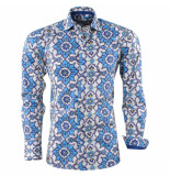 Bravo Jeans heren overhemd bloemen design slim fit - blauw