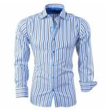 Bravo Jeans Heren overhemd gestreept slim fit blauw wit