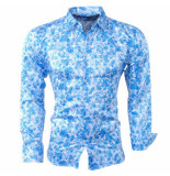Pradz 2018 Heren overhemd bloemen blauw