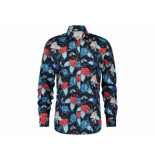 A Fish Named Fred 20.01.013 shirt watercolor flowers red - blauw