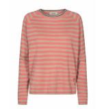 Mos Mosh 131080 357 wyn stripe knit sugar coral rood