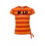 Looxs Revolution Gestreept roestkleurig t-shirt voor meisjes in de kleur