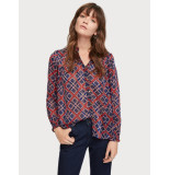 Scotch & Soda Amsterdams Blauw 153762 sheer ruffle top with allover prints. rood