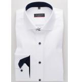 Eterna Heren overhemd cover shirt navy contrast cutaway modern fit wit