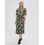 Selected Femme 16072245 slfmarina-florenta 3/4 aop midi dress b groen