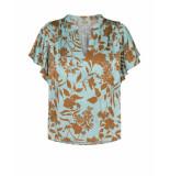 Mos Mosh 132070 renata stencil blouse groen