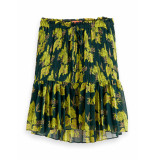 Scotch & Soda 156003 0217 printed skirt/rok with pleats combo a groen