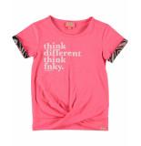 Funky XS T-shirt text tee roze